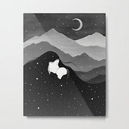 Mountain's Lullaby - Black & White Metal Print