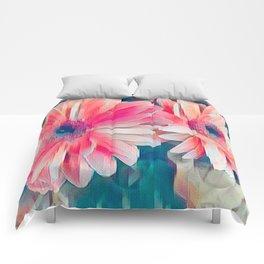 pink gerbera daisy in the vase Comforters