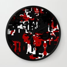 Black Red and White Glitch Wall Clock