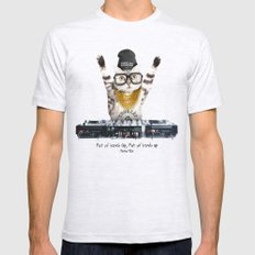 Thug Cat Mens Fitted Tee Ash Grey LARGE