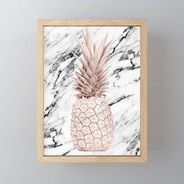Rose Gold Pineapple on Black and White Marble Framed Mini Art Print