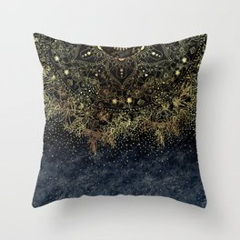 Stylish Gold floral mandala and confetti Throw Pillow