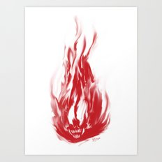 Flame Skull Art Print