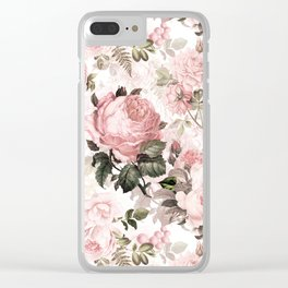 Vintage & Shabby Chic - Sepia Pink Roses Clear iPhone Case