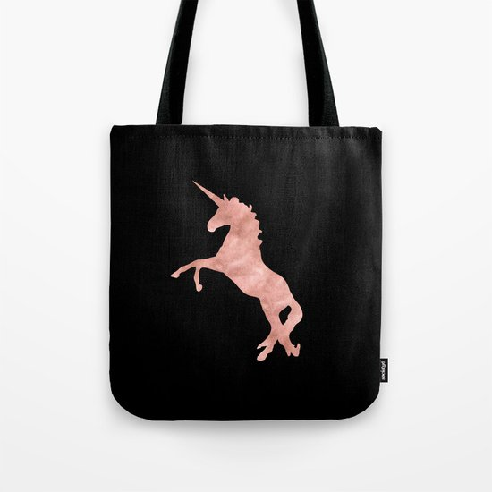 Unicorn - Pink Rose Gold Black Tote Bag