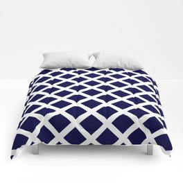 Dark Navy Blue and White Grill Pattern Comforters