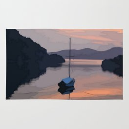 Boat At Bozburun At Sunset Vector Image Rug