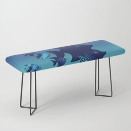 Nine Blue Fish with Patterns Bench