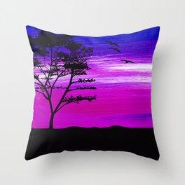 Black tree with birds silhouette Throw Pillow