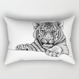 Amur tiger cub - ink illustration Rectangular Pillow