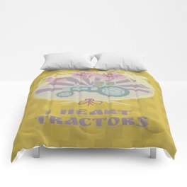 I Heart Tractors - mustard Comforters
