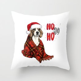 Hand Drawn Beagle Dog Portrait in Santa Hat and Snuggled in Plaid Blanket Throw Pillow