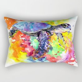 Sea Turtle in Coral Reef design, sea world colorful coral sea world design Rectangular Pillow