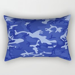 Bright Blue Camo Pattern Rectangular Pillow