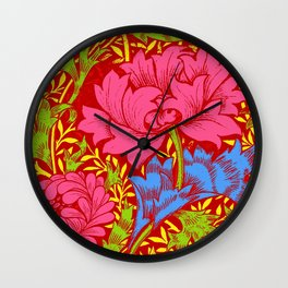 Psychedelic William Morris Pink Flowers Wall Clock