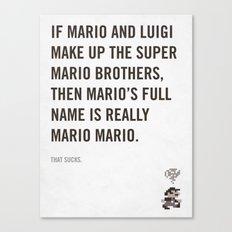 Mr. Mario Mario Canvas Print