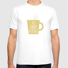 Take Comfort in Rituals. Coffee. MEDIUM White Mens Fitted Tee