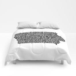 Typographic Iowa Comforters