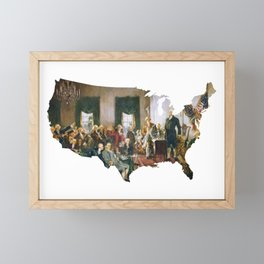 USA MAP The Signing of the Constitution of the United States Framed Mini Art Print
