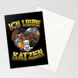 Ich Liebe Katzen - Herz mit Katzen Stationery Cards