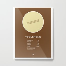 Toblerone Cocktail Recipe Poster (Imperial) Metal Print