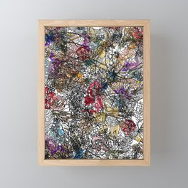 Floral Abstract Retro Inspired Framed Mini Art Print