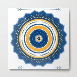 Blue and Yellow Mandala Metal Print