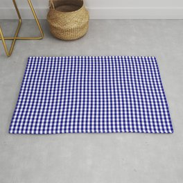 Small Navy Blue and White Gingham Check Plaid Pattern Rug