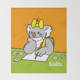 Koalita at school Throw Blanket