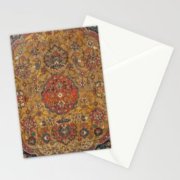 Persian Medallion Rug VI // 16th Century Distressed Red Green Blue Flowery Colorful Ornate Pattern Stationery Cards