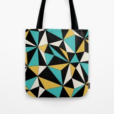 Geo - blue, orange, black and white. Tote Bag