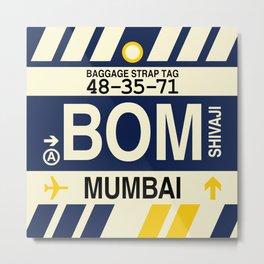 BOM Mumbai • Airport Code and Vintage Baggage Tag Design Metal Print