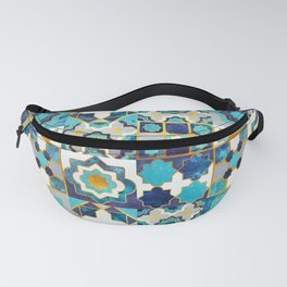 Spanish moroccan tiles inspiration // turquoise blue golden lines Fanny Pack