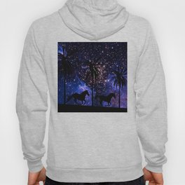 Galloping horses under starry sky Hoody