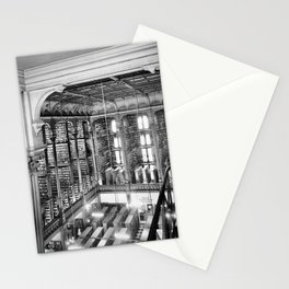 A Book Lover's Dream - Cast-iron Book Alcoves Cincinnati Library black and white photography Stationery Cards