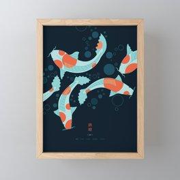 Koi Carps in a Blue-Black Pond Framed Mini Art Print