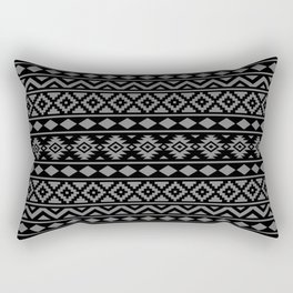 Aztec Essence Ptn III Grey on Black Rectangular Pillow