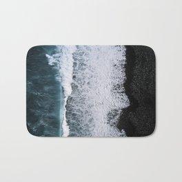 Aerial of a Black Sand Beach with Waves - Oceanscape Bath Mat