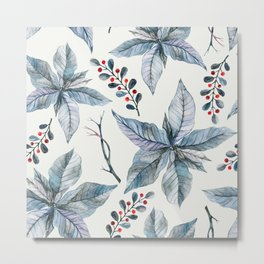 Poinsettia pattern 1 Metal Print