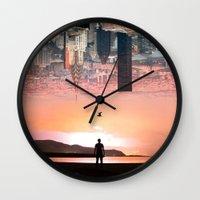 cityscape Wall Clocks featuring Cityscape by Enkel Dika