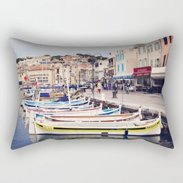 Boats in Cassis Harbor Rectangular Pillow