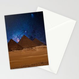 Great Giza Egyptian Pyramids of Menkaure, Khafre and Khufu under Stars Stationery Cards