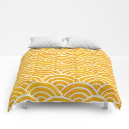 Japanese Seigaiha Wave – Marigold Palette Comforters