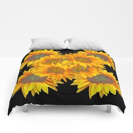 Golden Yellow Sunflowers on Black Color Comforters