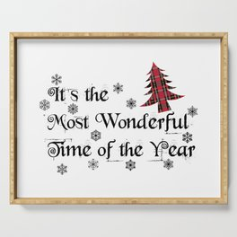 It's The Most Wonderful Time Of The Year Shirt, Plaid Christmas Trees Shirt, Christmas Angel Song Sh Serving Tray