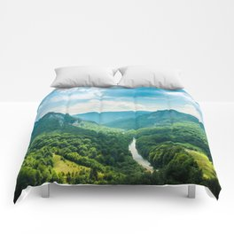 Landscape - Green Mountains  Comforters