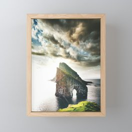 hiking at faroe Framed Mini Art Print