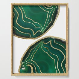 Emerald Agate Gold Glam #1 #gem #decor #art #society6 Serving Tray