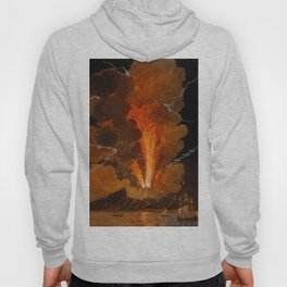 Mount Vesuvius erupting at night, billowing clouds and flashes of lightning Hoody