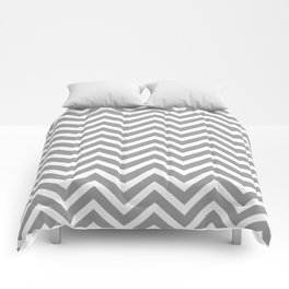Chevron Pattern - Grey and White Comforters